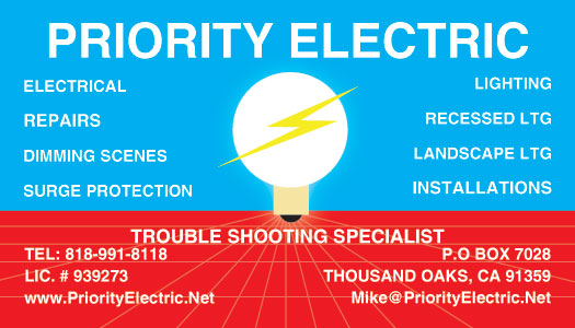 Priority Electric Malibu Pacific Palisades Business Card